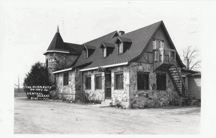 All that remains of Mrs. Funke's Normandy Hotel is two gateposts. Image courtesy of 66postcards.com.