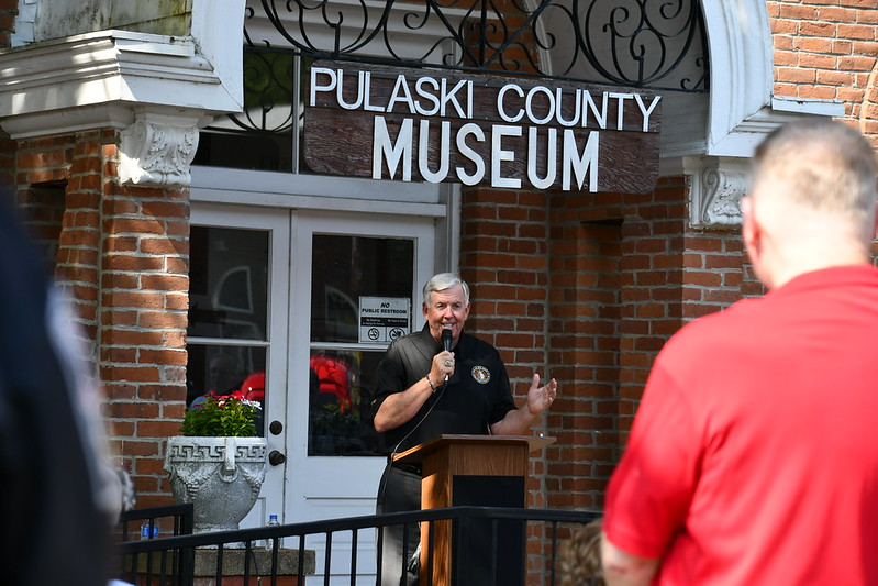 Gov. Parson speaks at 1903 Courthouse Museum on Route 66