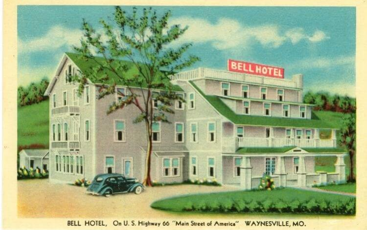 Vintage postcard of Bell Hotel on Route 66 in Waynesville, Missouri
