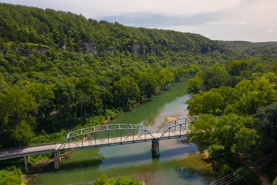 Aerial view of Devils Elbow bridge over the Big Piney river on Route 66