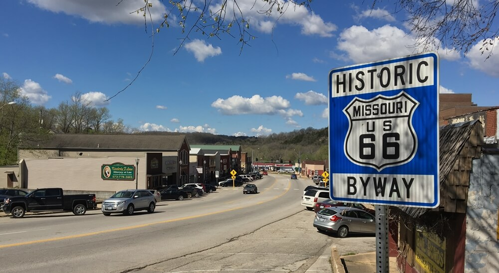 Downtown Waynesville Missouri on Route 66 in Pulaski County