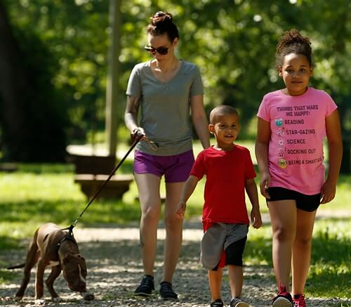 Family and dog enjoying Waynesville's Laughlin Park