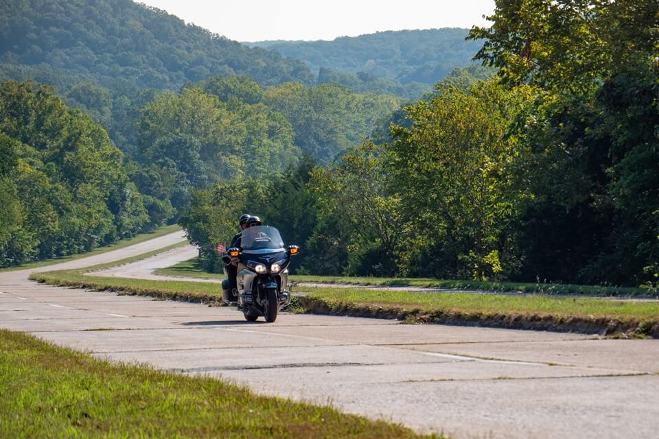 Motorcycle on Route 66 near Hooker Cut in Pulaski County, Missouri