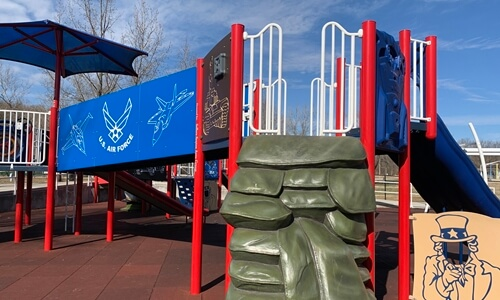 Playground equipment at Waynesville's all-accessibilble playground